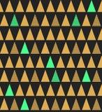 Modelo inconsútil abstracto con los triángulos en oro azul brillante y Foto de archivo libre de regalías