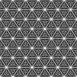 Modelo inconsútil abstracto de los triángulos divididos en tres porciones iguales con círculos dentro ilustración del vector