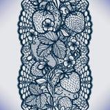 Modelo inconsútil abstracto del cordón con las flores, las hojas y la fresa Fotos de archivo