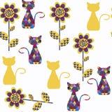 Modelo inconsútil abstracto del vector de los gatos Está situado en la muestra m Fotos de archivo libres de regalías