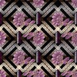 Modelo inconsútil abstracto floral Fondo geométrico moderno 3 Foto de archivo libre de regalías