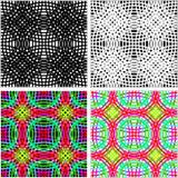 Modelo inconsútil abstracto - sistema de anillos coloridos en cuatro variantes Foto de archivo