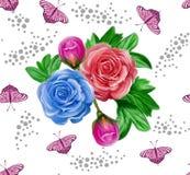 Modelo inconsútil agradable de las flores y de las mariposas de la acuarela Imágenes de archivo libres de regalías
