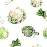 Modelo inconsútil aislado col exhausta de la alcachofa de la coliflor del puerro de la mano de la acuarela libre illustration