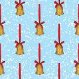 Modelo inconsútil Alarmas de la Navidad de oro imagen de archivo