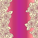 Modelo inconsútil amarillo hermoso del rosa y del vintage hecho de rosas Fotos de archivo