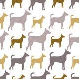 Modelo inconsútil animal de las siluetas del perro Imagen de archivo