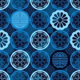 Modelo inconsútil azul de la ventana de la simetría china de la larga vida ilustración del vector