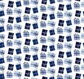 Modelo inconsútil azul de las cajas de regalo Fotografía de archivo libre de regalías
