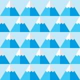 Modelo inconsútil azul geométrico con las montañas - fondo del invierno stock de ilustración