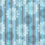 Modelo incons?til azul-gris rayado delicado con las flores transl?cidas stock de ilustración