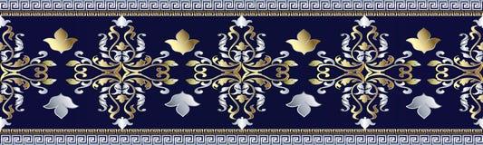 Modelo inconsútil barroco de la frontera Ornamentos griegos Libre Illustration