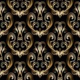 Modelo inconsútil barroco del oro 3d del damasco Fondo negro del vector Foto de archivo
