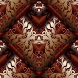 Modelo inconsútil barroco moderno 3d Fondo rojo oscuro floral w Imagenes de archivo