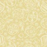 Modelo inconsútil beige con los HUEVOS de PASCUA, flores, hojas, polluelo Elementos decorativos a mano Diseño de los días de fies libre illustration