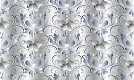Modelo inconsútil blanco floral del vintage Fondo del damasco del vector Fotografía de archivo