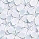 Modelo inconsútil blanco y gris con el flor de Sakura Imagenes de archivo