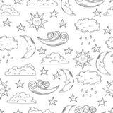 Modelo inconsútil blanco y negro con el sol, la luna, las nubes y las estrellas lindos del garabato libre illustration