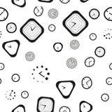 Modelo inconsútil blanco y negro con los diversos tipos de reloj Foto de archivo libre de regalías