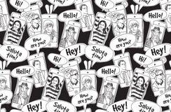 Modelo inconsútil blanco y negro de la gente de la comunicación de los teléfonos móviles ilustración del vector