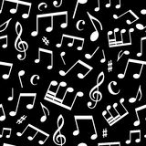 Modelo inconsútil blanco y negro de la música Fotos de archivo libres de regalías