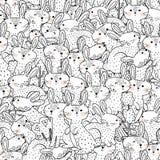 Modelo incons?til blanco y negro de los conejos divertidos stock de ilustración