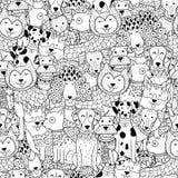 Modelo inconsútil blanco y negro de los perros divertidos ilustración del vector