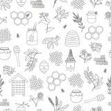 Modelo inconsútil blanco y negro del vector de la miel, abeja, abejorro, colmena, avispa, colmenar, flores del prado ilustración del vector