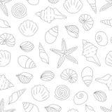 Modelo inconsútil blanco y negro del vector de las cáscaras del mar libre illustration