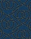 Modelo inconsútil bordado en fondo azul de la textura del dril de algodón stock de ilustración