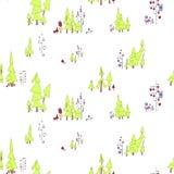 Modelo inconsútil Bosque de hadas con los búhos y los monstruos En el ejemplo hay árboles de pino, árboles ramificados con los cí ilustración del vector