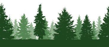 Modelo inconsútil Bosque, silueta verde de los abetos Vector ilustración del vector