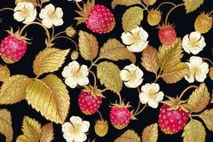 Modelo inconsútil botánico con la fresa Imagenes de archivo
