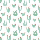 Modelo inconsútil botánico con los cactus verdes dibujados mano en el fondo blanco Plantas de desierto mexicanas florecientes tra Foto de archivo
