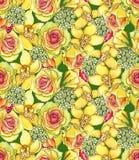 Modelo inconsútil brillante con de las orquídeas, los waxflowers y r amarillos Fotos de archivo libres de regalías