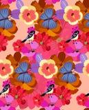 Modelo inconsútil brillante con las flores exóticas y los pájaros lindos en vector Imprima para la tela, papel, papel pintado, en stock de ilustración