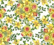 Modelo inconsútil brillante con los ramos de orquídeas amarillas, waxflow Imagenes de archivo