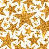 Modelo inconsútil brillante del día de fiesta de las estrellas brillantes del oro Imagen de archivo libre de regalías