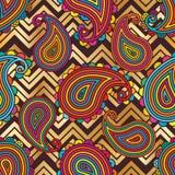 Modelo inconsútil brillante en colores pastel de Paisley Chevron ilustración del vector