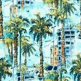 Modelo inconsútil Centro de la ciudad con la calle y los edificios de la ciudad de Miami en la Florida, los E.E.U.U. Chapoteo de  Foto de archivo libre de regalías