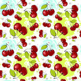 Modelo inconsútil Cherry Fruits Summer Ornament Background Fotos de archivo