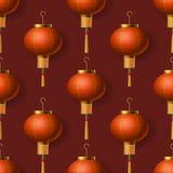 Modelo inconsútil chino de las linternas del Año Nuevo stock de ilustración