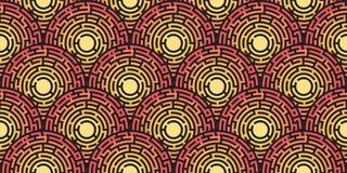 Modelo inconsútil circular del laberinto coloreado Imagen de archivo libre de regalías