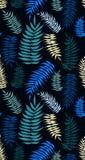 Modelo inconsútil coloreado de las hojas de palma en tonos de la turquesa Stock de ilustración