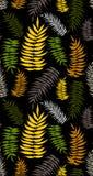 Modelo inconsútil coloreado de las hojas de palma tropicales Stock de ilustración