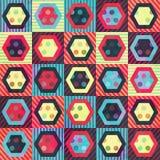 Modelo inconsútil coloreado del Rhombus del vintage con efecto del grunge Fotografía de archivo libre de regalías