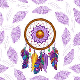Modelo inconsútil coloreado dibujado mano del dreamcatcher Imágenes de archivo libres de regalías