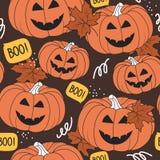 Modelo incons?til colorido, calabazas para el d?a de Halloween, hojas de arce Fondo decorativo ilustración del vector