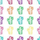 Modelo inconsútil colorido con el cactus Imagen de archivo libre de regalías