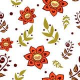 Modelo inconsútil colorido con las flores en el fondo blanco Foto de archivo libre de regalías